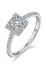 Halo engagement ring boasts a petite band (2)