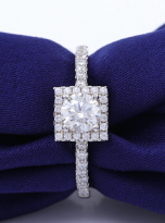Halo engagement ring boasts a petite band (6)