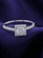 Halo engagement ring boasts a petite band (7)