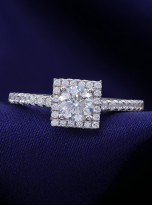 Halo engagement ring boasts a petite band (8)