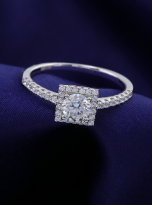 Halo engagement ring boasts a petite band (9)