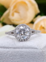 Luxury Halo engagement ring with a split shank (10)