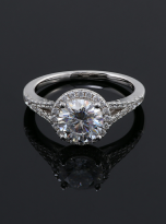 Luxury Halo engagement ring with a split shank (5)