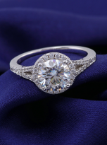 Luxury Halo engagement ring with a split shank (9)