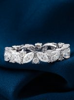 Marquise & Round Moissanite Leaf Design Stackable Band (10)