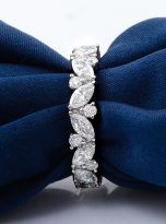 Marquise & Round Moissanite Leaf Design Stackable Band (11)