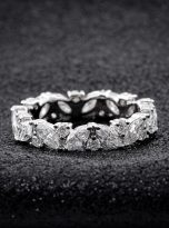 Marquise & Round Moissanite Leaf Design Stackable Band (4)
