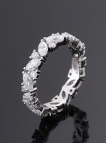 Marquise & Round Moissanite Leaf Design Stackable Band (5)