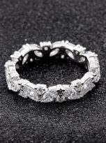 Marquise & Round Moissanite Leaf Design Stackable Band (6)