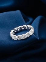 Marquise & Round Moissanite Leaf Design Stackable Band (8)