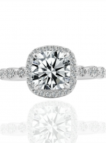 Marquise Shaped Cathedral Halo Cushion Moissanite Engagement Ring 1 (1)