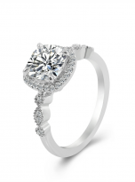 Marquise Shaped Cathedral Halo Cushion Moissanite Engagement Ring 1 (2)