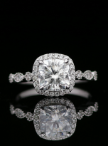 Marquise Shaped Cathedral Halo Cushion Moissanite Engagement Ring 1 (5)