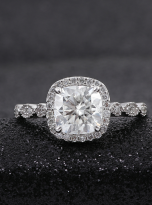 Marquise Shaped Cathedral Halo Cushion Moissanite Engagement Ring 1 (6)