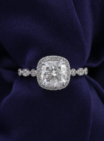 Marquise Shaped Cathedral Halo Cushion Moissanite Engagement Ring 1 (7)