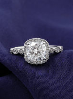 Marquise Shaped Cathedral Halo Cushion Moissanite Engagement Ring 1 (8)