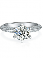 Moissanite Solitaire engagement ring features a petite knife edge design (1)
