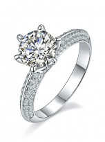 Moissanite Solitaire engagement ring features a petite knife edge design (2)