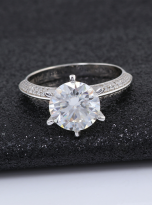 Moissanite Solitaire engagement ring features a petite knife edge design (5)
