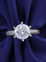 Moissanite Solitaire engagement ring features a petite knife edge design (6)