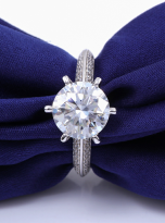 Moissanite Solitaire engagement ring features a petite knife edge design (7)