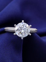 Moissanite Solitaire engagement ring features a petite knife edge design (8)