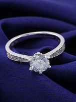 Simple 6 claw round shaped solitaire moissanite ring (10)