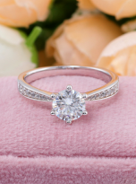 Simple 6 claw round shaped solitaire moissanite ring (11)