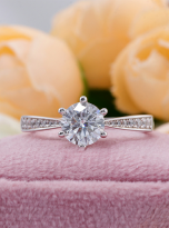 Simple 6 claw round shaped solitaire moissanite ring (12)