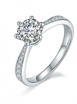 Simple 6 claw round shaped solitaire moissanite ring (2)