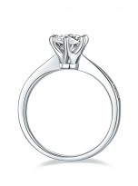 Simple 6 claw round shaped solitaire moissanite ring (4)