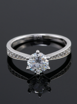 Simple 6 claw round shaped solitaire moissanite ring (6)