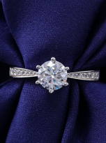Simple 6 claw round shaped solitaire moissanite ring (8)