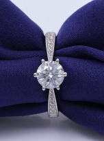 Simple 6 claw round shaped solitaire moissanite ring (9)