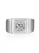 Solitaire moissanite men's ring with 1ct 6.5mm main stone1 (1)