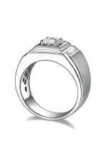 Solitaire moissanite men's ring with 1ct 6.5mm main stone1 (2)
