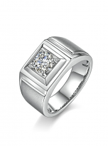 Solitaire moissanite men's ring with 1ct 6.5mm main stone1 (3)