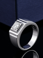 Solitaire moissanite men's ring with 1ct 6.5mm main stone1 (5)