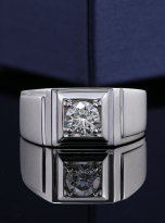 Solitaire moissanite men's ring with 1ct 6.5mm main stone1 (6)