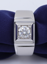Solitaire moissanite men's ring with 1ct 6.5mm main stone1 (7)