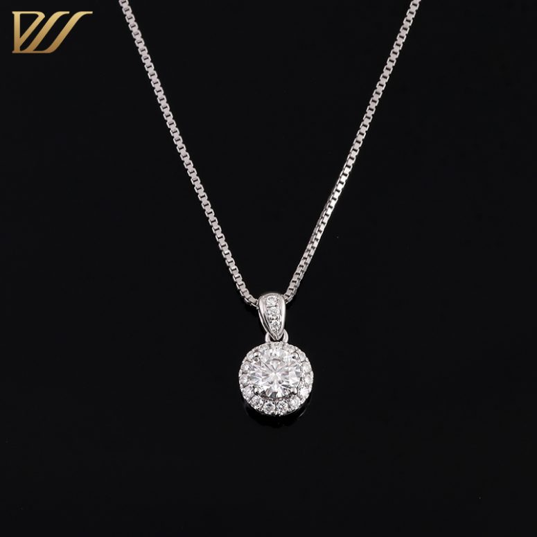 0.5ct Colorless Moissanite Halo Pendant Necklace