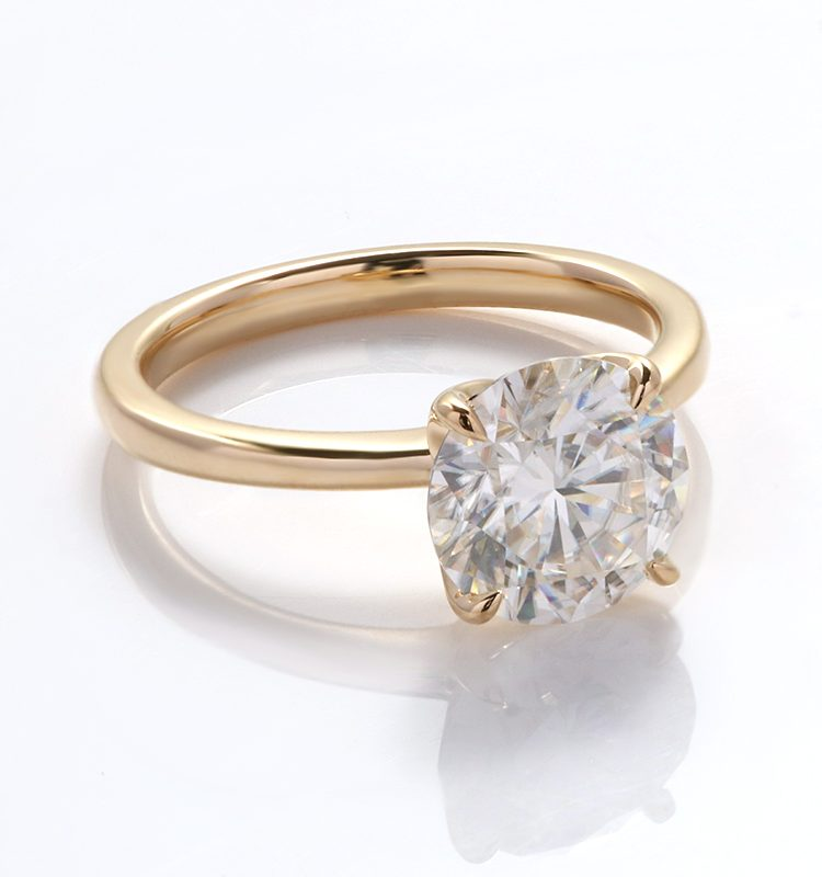 1.2ct Round Brilliant Cut Moissanite Classic Solitaire Style Ring