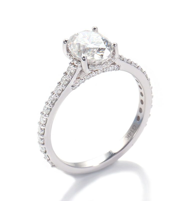 1.5ct Oval Moissanite Hidden Halo with Side Accents Engagement Ring