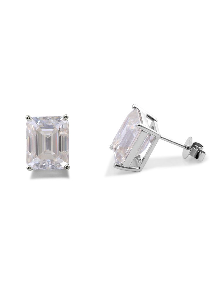 1.5ct Rectangle Moissanite 4-prong Solitaire Stud Earrings