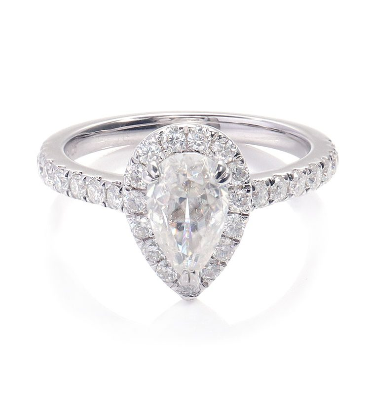1ct Pear Moissanite Halo Petite Pave Engagement Ring