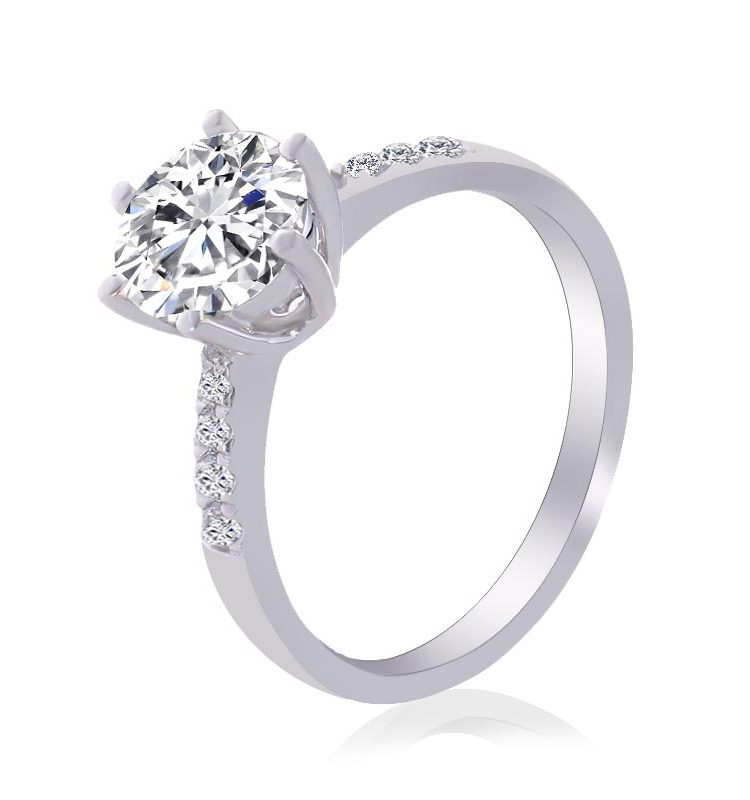 2.5ct Round Moissanite Solitaire with Side Accents Ring