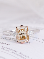 2ct Octangle Moissanite with 2 Triangle Moissanite Ring (10)