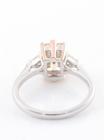2ct Octangle Moissanite with 2 Triangle Moissanite Ring (3)