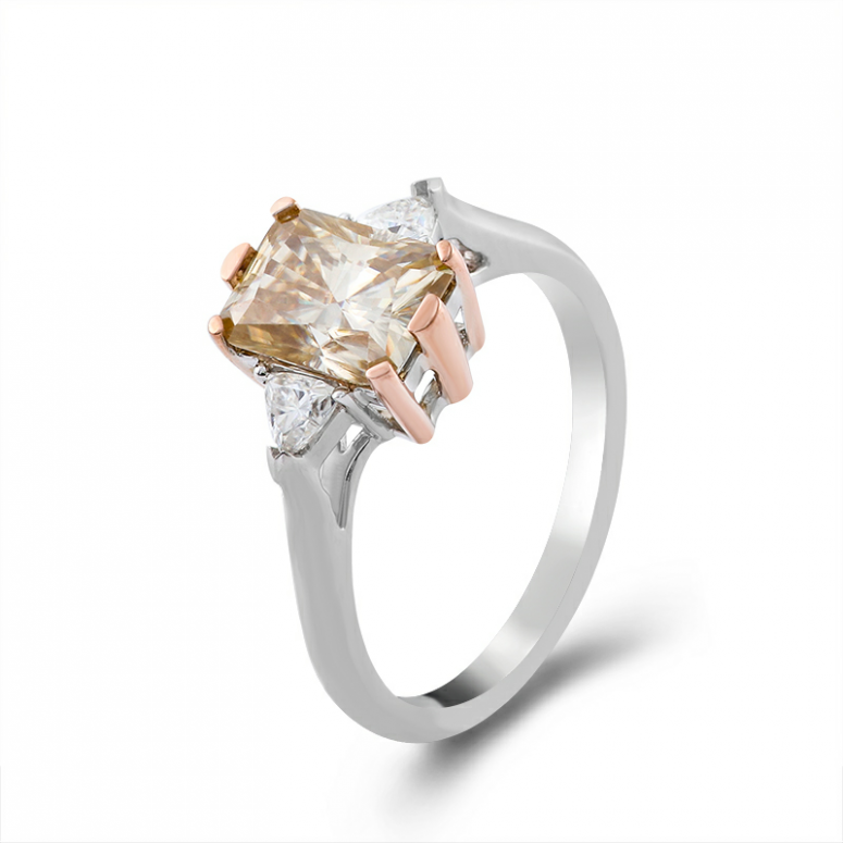 2ct Octangle Moissanite with 2 Triangle Moissanite Ring