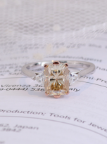 2ct Octangle Moissanite with 2 Triangle Moissanite Ring (9)